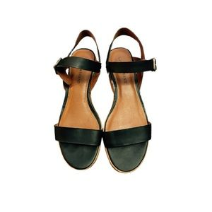 Lucky Brand leather sandals black size 10